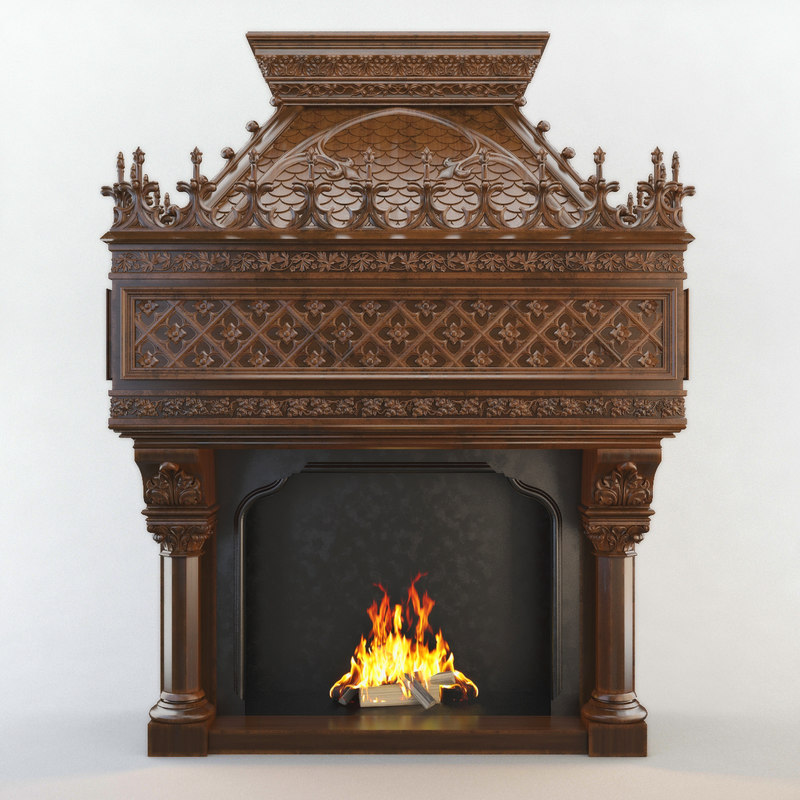 fireplace cnc decoration 3d max