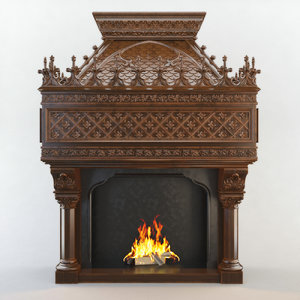 fireplace cnc decoration 3d max