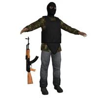 terrorist ak47 soldier 3d max