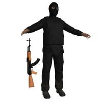 3dsmax terrorist ak47 soldier