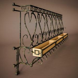 balcony terrace rail 3d model