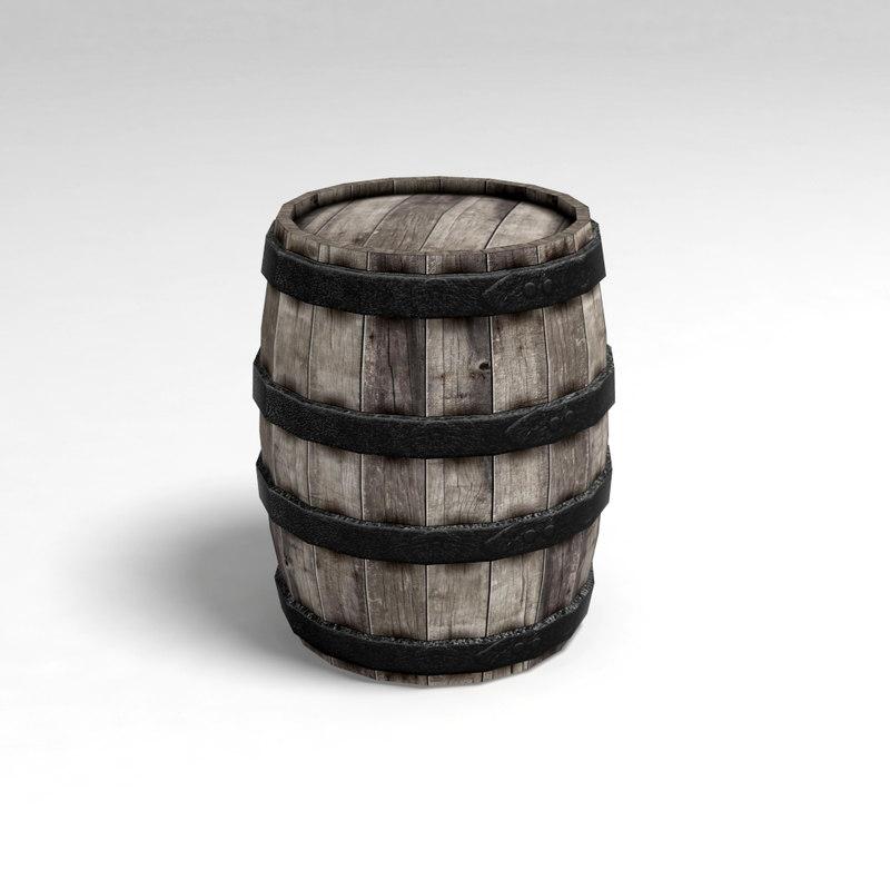 wooden barrel keg 3d obj