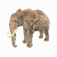3d model voxel elephant