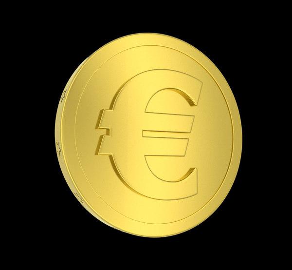 metallic coin euro symbol obj