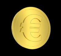metallic coin euro symbol 3d obj