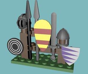 3d model lego weapon rack
