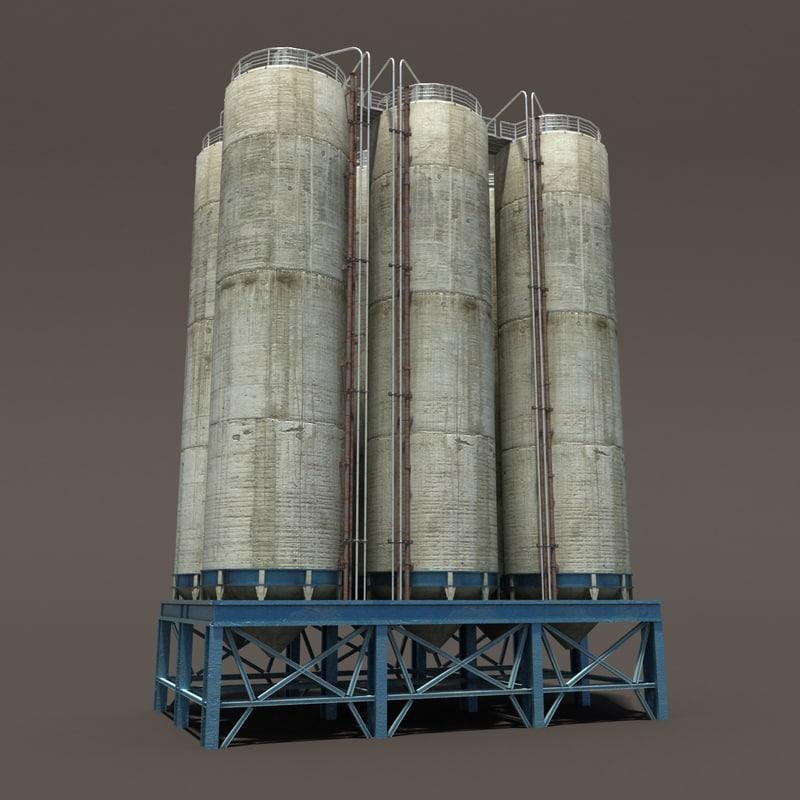 chemical silos 3d lwo