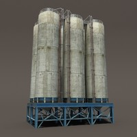 Chemical Silos Low Poly 3d Moldel