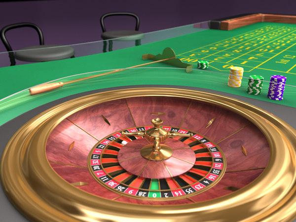 roulette table set 3d model