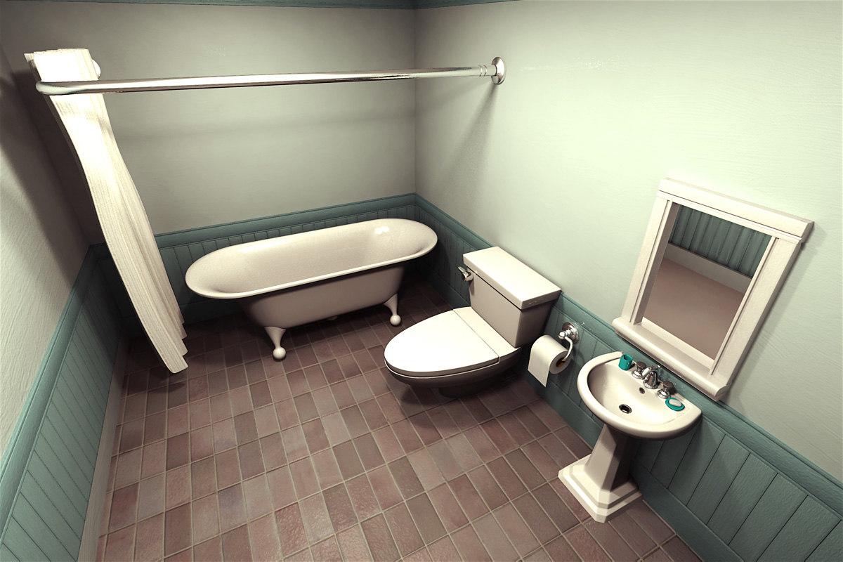 Obj cartoon bathroom scene for Bathroom scenes photos