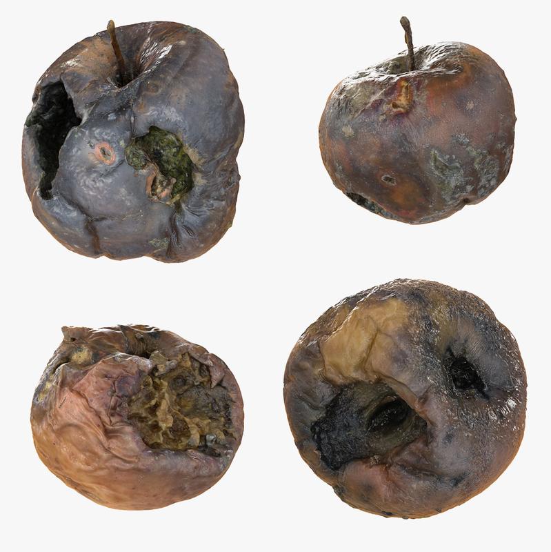 3d rotten decayed apples model