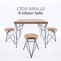 table stool loft 3d model