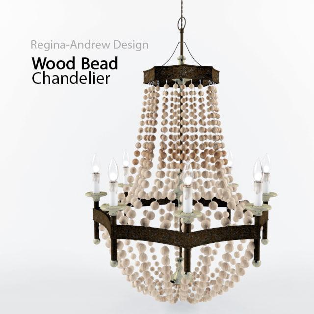 3d model wood bead chandelier