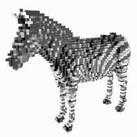 voxel zebra 3d obj