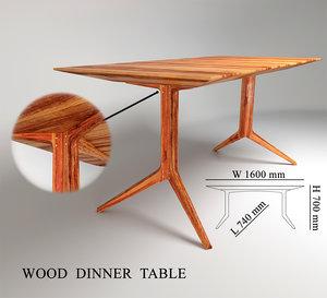 3d wood dinner table