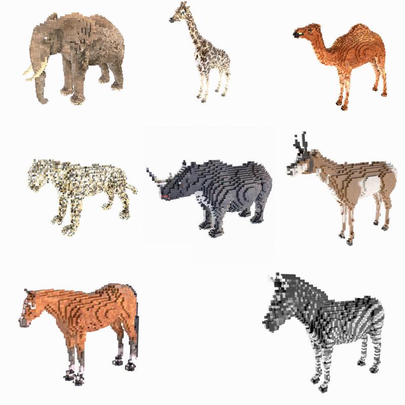 3d model 8 voxel animals