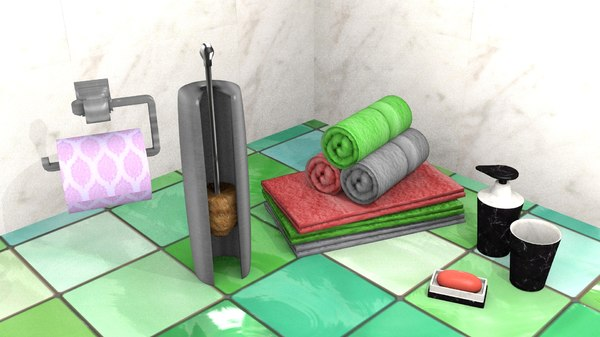 free bathroom implements 3d model