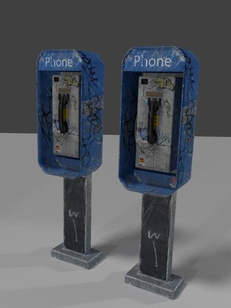 3d model public phone booth