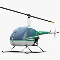 3d low-poly robinson r22 helicopter model
