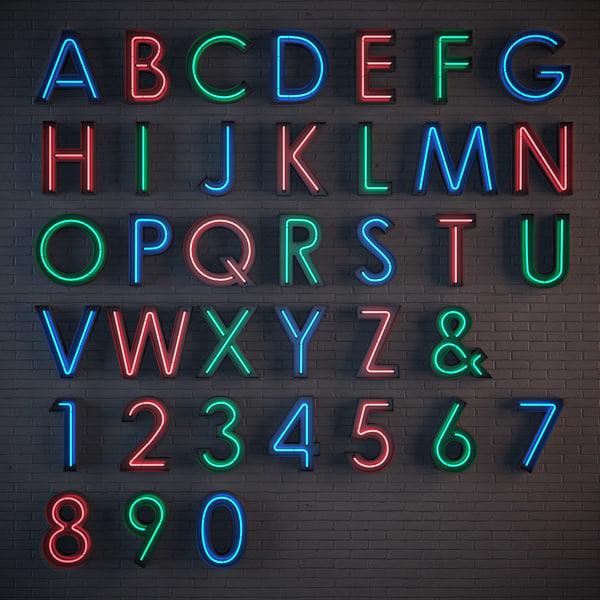 neon alphabet max