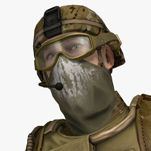 3d military male soldier set model