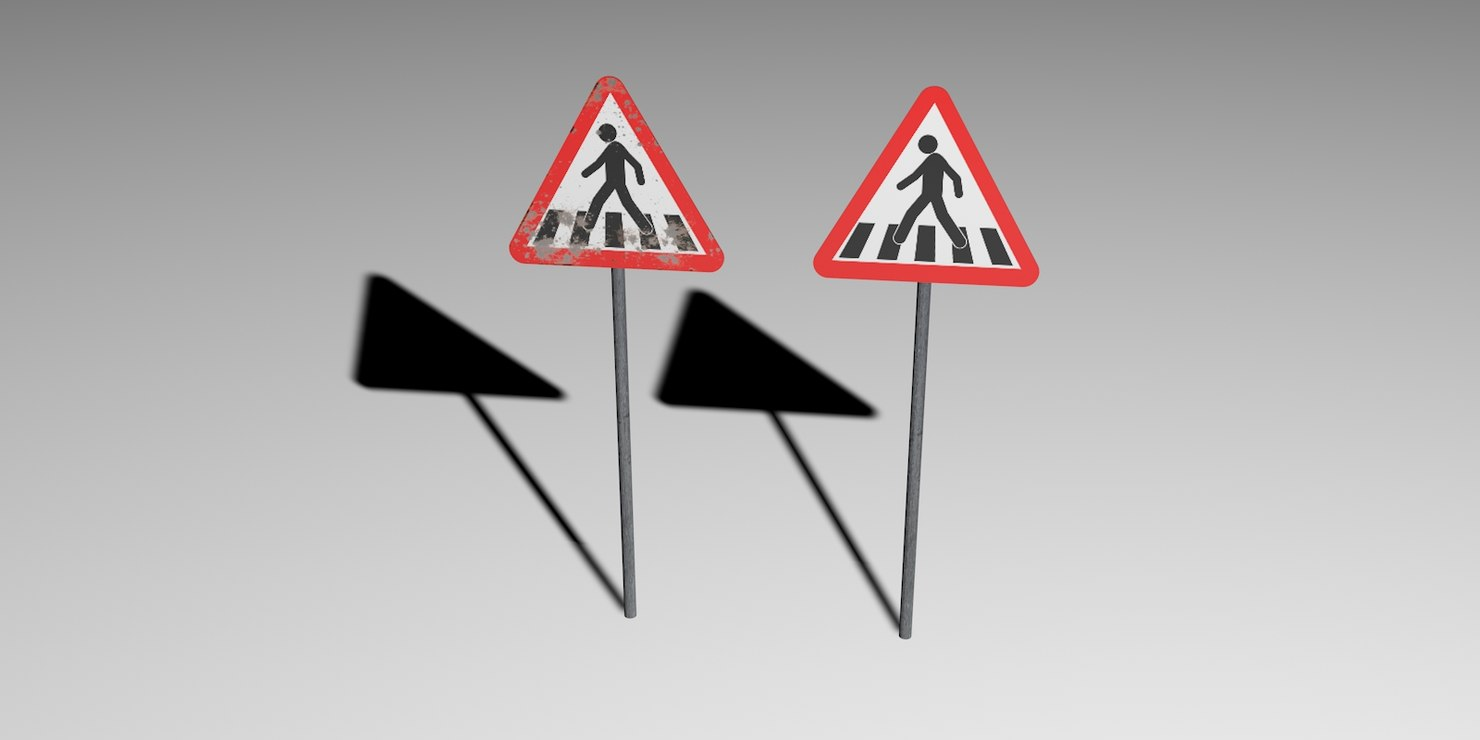 3d model road sign crosswalk