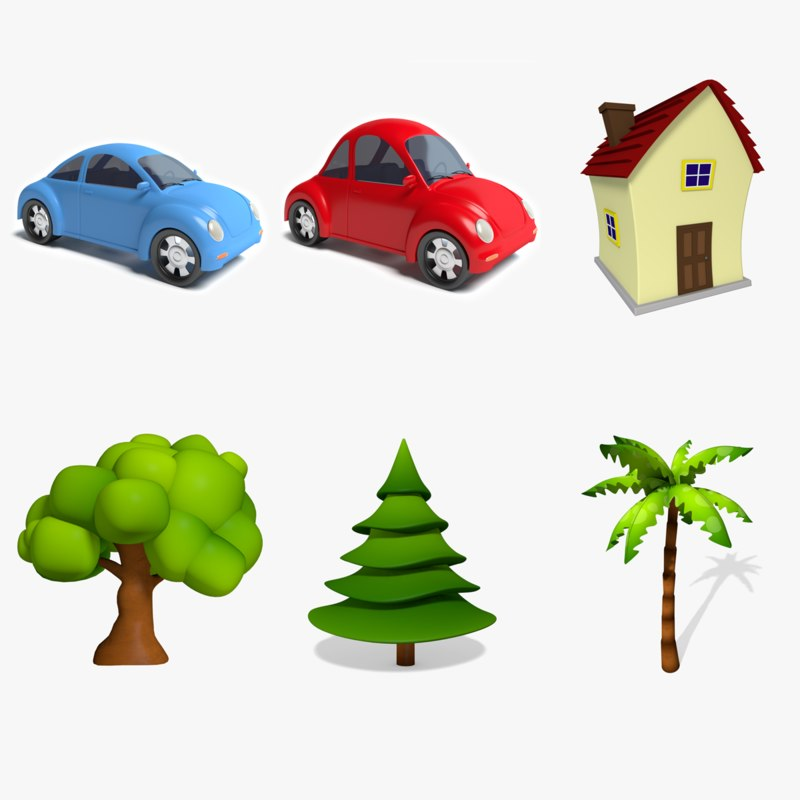 cartoon cars trees house 3d model