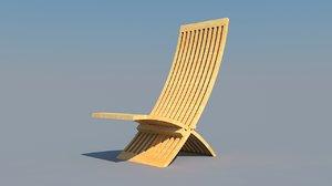 free folding wood chair 3d model