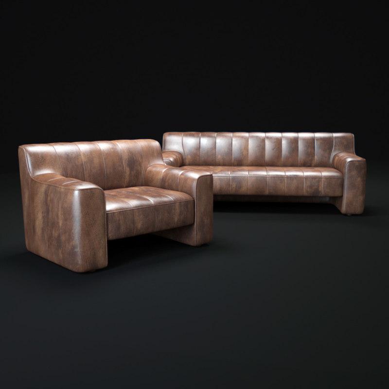 3d leather-sofa model