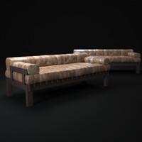 3d stitching-leather-sofa model