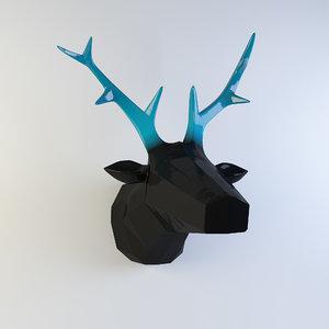 3d wall statuette deer head