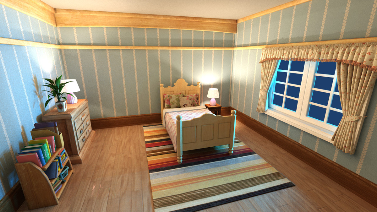 3d model cartoon bedroom scene