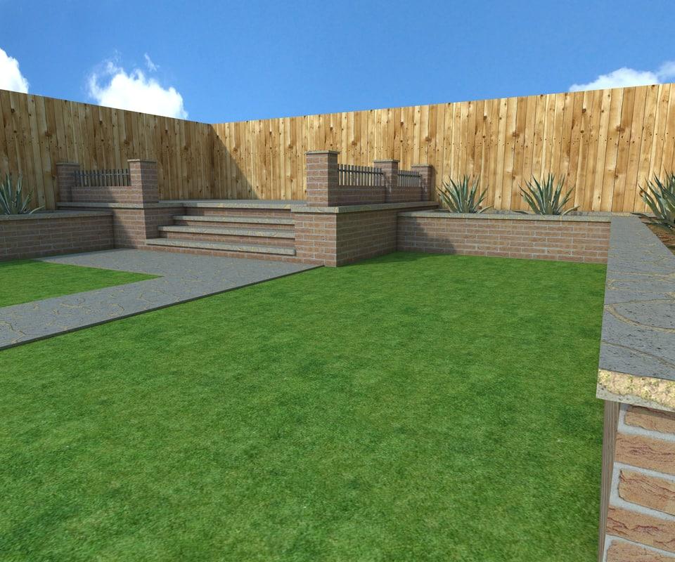 3d garden scene model