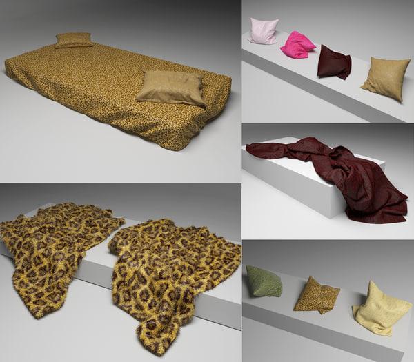 3d model bedcowers pillows