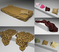 3d model bedcowers pillows