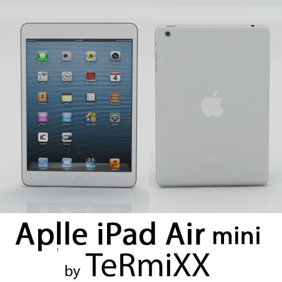 low-poly ipad air mini 3d model