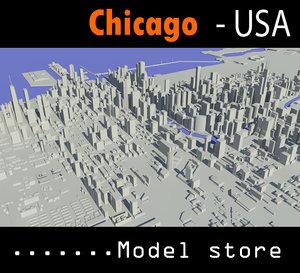 3d cityscape chicago
