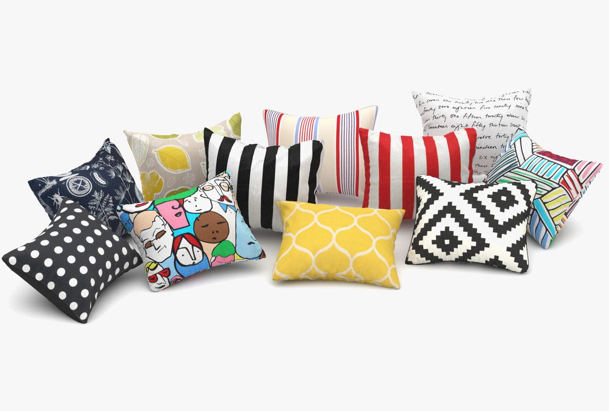 3dsmax ikea pillows set