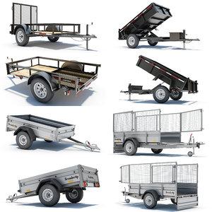 3d model of 4 utility trailer