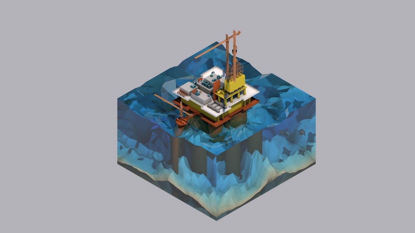 oil rig c4d