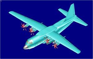 3ds max lockheed c-130j transport aircraft