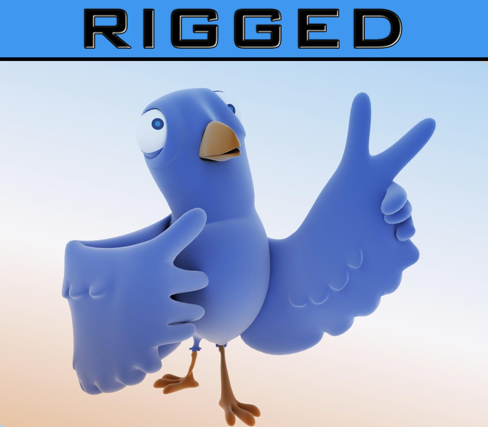 cute bird rig cartoon max