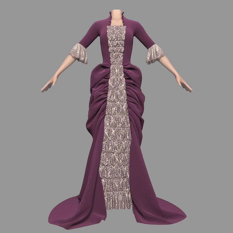 dress empire style female 3d model