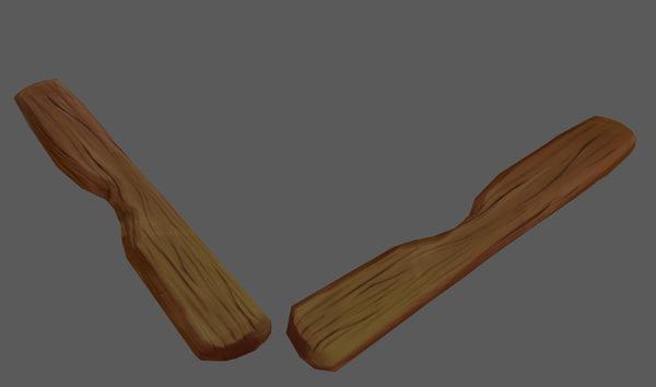 free obj model plank wood stylized