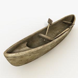 houri boat canoe 3d obj