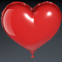 realistic heart balloon 3d model