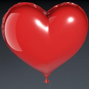 realistic heart balloon 3d model