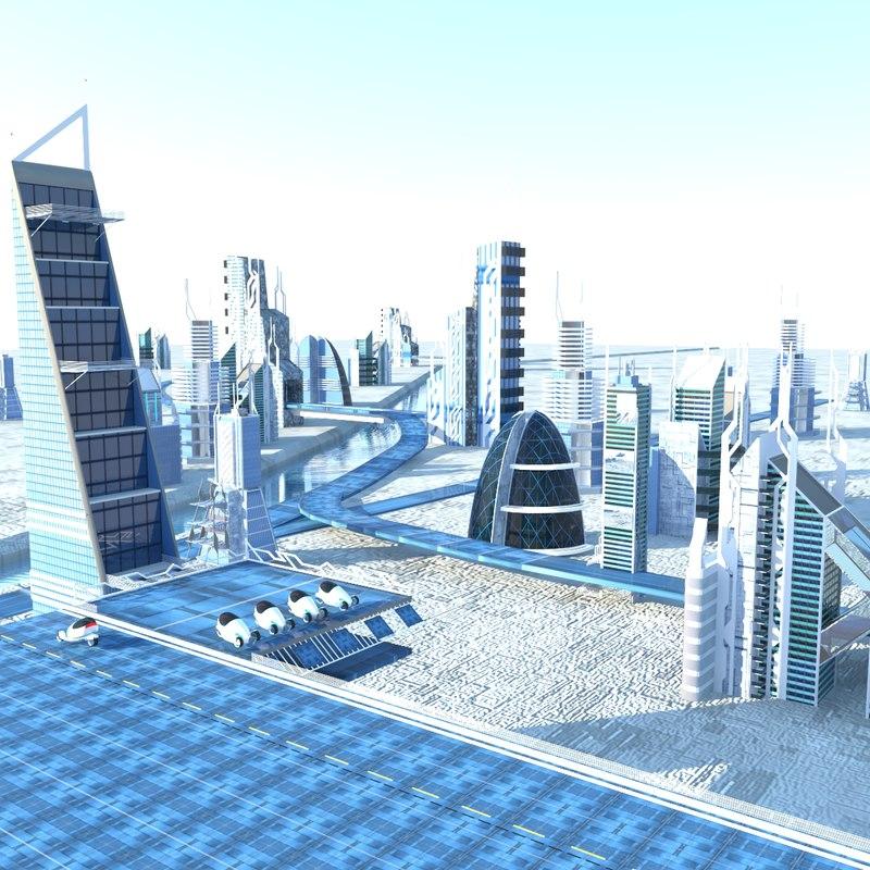 scene futuristic city 3d model