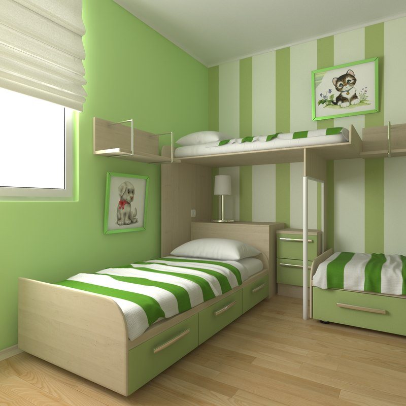 3d model childrens bedroom - Bedroom style for small space model ...