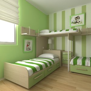 3d childrens bedroom design model